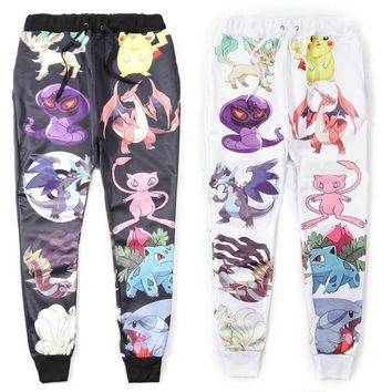 New fashion men/women cartoon joggers pants 3D print cartoon pokemon pikachu skinny sweatpants hip hop pants