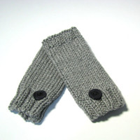 Valentines Day Hand Knit Fingerless Gloves Hand Warmers - Gray
