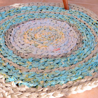 rag rug - turquoise green hand dyed  round - good for nursery- beach- or lake -- OOAK -vintage look- upcycled