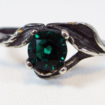 925 Oxidized Emerald Leaf Ring Sterling Silver