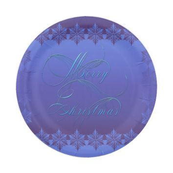 Blue Merry Christmas Paper Plate
