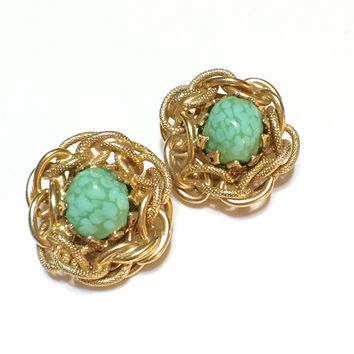 Gold and Turquoise Earrings, Robins Egg Bird Nest Earrings, Omega Clip On, Vintage Jewelry