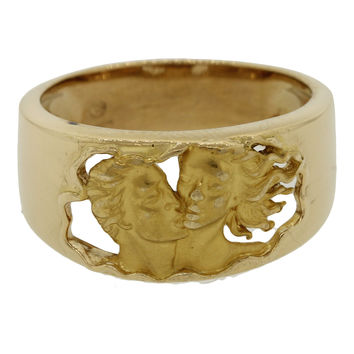 Carrera Y Carrera Modern Estate 18k Yellow Gold Adam & Eve Carved Kissing Ring
