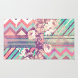 Retro Pink Turquoise Floral Stripe Chevron Pattern Area & Throw Rug by Girly Trend