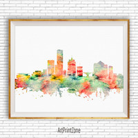 Milwaukee Print, Milwaukee Art Milwaukee Skyline, Milwaukee Wisconsin, City Skyline Prints, Skyline Art, Cityscape Art, ArtPrintZone