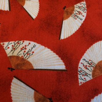 Asian Print Fabric by the HALF YARD,  Fan Toss in Red
