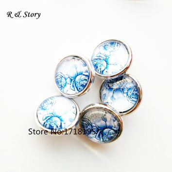 New blue flower 12mm Snaps small snap buttons charms jewelry SB_263