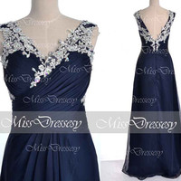 Dark Navy Prom Dresses, Chiffom Prom Gown, 2014 Straps Lace /Chiffon Long Prom Dresses, Dark Navy Evening Dresses, Chiffon Formal Gown