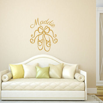 Personalized Wall Decal Ballet Slippers Customized Vinyl Wall Decal 22295