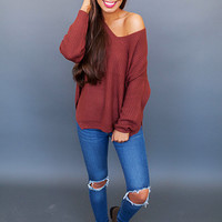 Brick V Neck Sweater