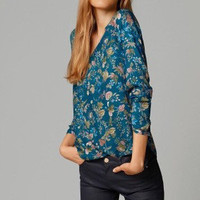 SIMPLE - Floral Women V Neck Shirt blouse Top b4318