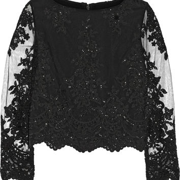 Alice + Olivia - Ava embellished lace and tulle top