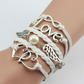 New Fashion Women Cute Infinite Heart Woven Leather Cuff Bracelets & Bangle Jewelry Femme Multilayer Braided Multicolor