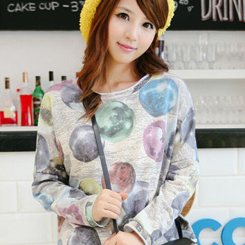 Party Ball Print Long Sleeve Top