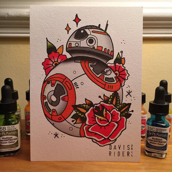 BB8 Tattoo Flash Print
