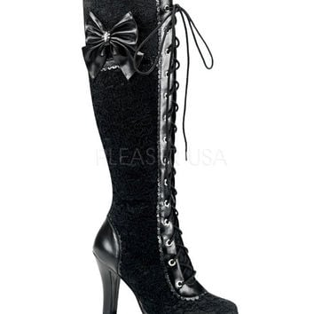 Lace Overlay Knee High Boots
