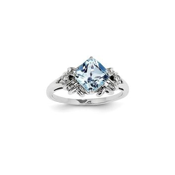 14K White Gold Diamond and Blue Topaz Square Ring