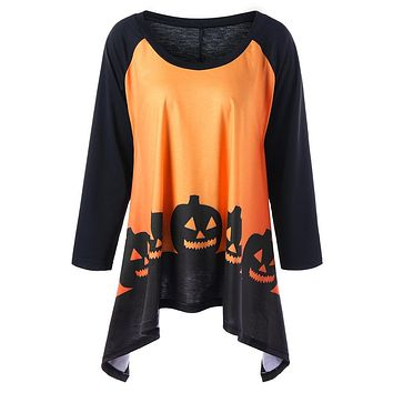 Halloween Pumpkin Printed Women Long Sleeve T shirt