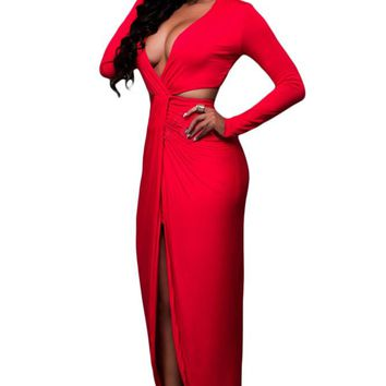 Chicloth Red Cut Out Drape Slit Long Sleeve Maxi Dress