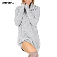 LASPERAL Casual Long Sleeve Sweaters Pull Women Femme Sweater Pullover Women Solid Long Knitted Sweater Dress Lady's Sweater