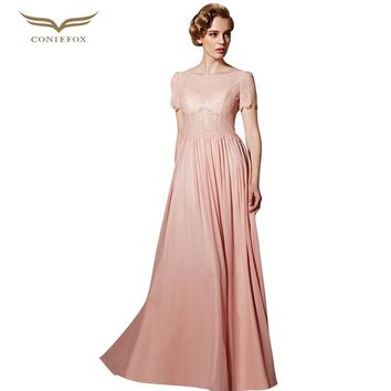 CONIEFOX 30838 Sequins Mesh Pink Evening Dress Long Lace Tulle Evening Gown Vestidos