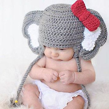 Baby Animal Elephant Bow-knot Photo Prop Crochet Knit Wool Hat Cap Newborn