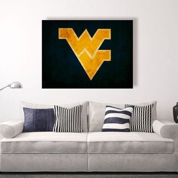 West Virginia Mountaineers vintage style Canvas Print, vintage football decor, college football logos, apartment decorating ideas, WVU
