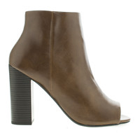 Yuriko Brown Pu By Delicious, Peep Toe Stacked High Heel Ankle Bootie
