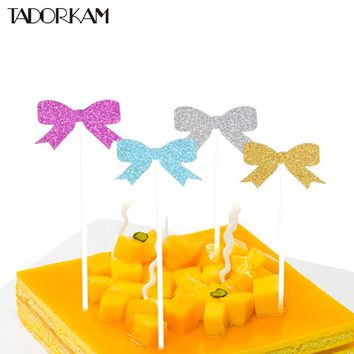 1set Color Bow-knot Cake Cupcake Topper Happy Birthday Cake Flags Kids Birthday Baby Shower Christmas Party Decoration Supplies