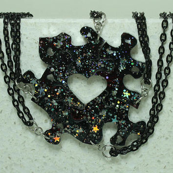 Friendship Puzzle Piece necklaces Set of 5 pendants with Galaxy painted with Holographic stars