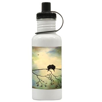 Gift Water Bottles | Birds In Tree Branch Art Painting Aluminum Water Bottles