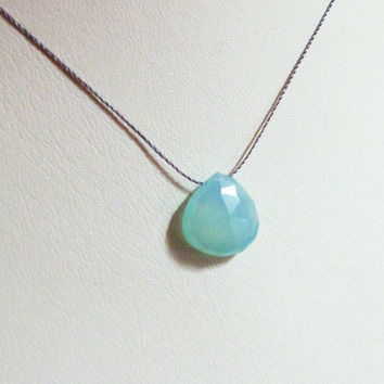 Soft Minty Aqua Green-Blue Chalcedony Necklace Faceted Heart Briolette, Natural Quartz, Cord Necklace, Wabi Sabi, Minimalist, Simple Jewelry