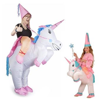 Unicorn Inflatable Cosplay Costume Mother Daughter Clothes Ride-On Animal Outfit For Child Adult Matching Outfits Family Look
