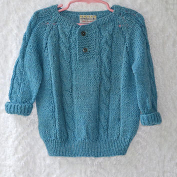 70s CHILDS Handmade Knit Sweater/ Very Soft Light Blue CableKnit 2 Button Pullover/ Retro Mod Girls Vintage Sweater/ Compares to 4T/ 5T