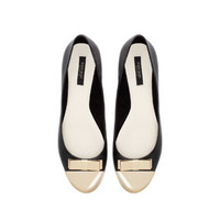 LEATHER BALLERINA WITH CAP TOE AND BOW - Shoes - Woman | ZARA United Kingdom