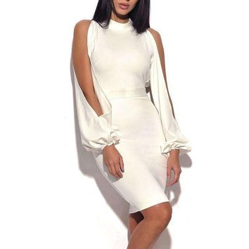 Women Upscale Events Prom nova White Cut Out Long Sleeve High Neck Cold Shoulder Bandage Mini Bodycon Dress