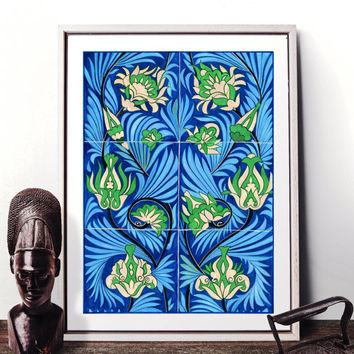 Traditional Italian Tile Design Watercolor Painting, Vintage Floral Wall Art, Italian Blue Flower Decor Prints and Original Painting 026