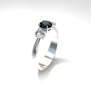 Black spinel and diamond trinity engagement ring, white gold, spinel engagement ring, diamond trinity ,unique, black engagement, gothic