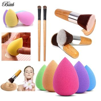 Bittb 2pcs Makeup Set Cosmetics Brush Makeup Sponge Face Eyebrow Beauty Makeup Brushes Foundation Blush Concealer Sponge Puff