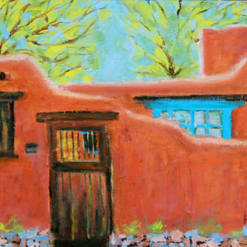 Original Oil Painting - Santa Fe Adobe - New Mexico - Southwest - 9 x 12 - Honeys Colors