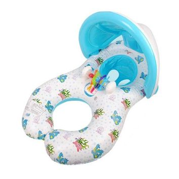 Swimming Pool beach Inflatable Mother and Baby Swim Shade Float Circle Ring Child Seat With Sunshade Cover Baby Swimming AccessoriesSwimming Pool beach KO_14_1
