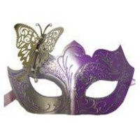 Venetian Purple and Silver Eye Masquerade Mask with Glitter Accents and a Butterfly