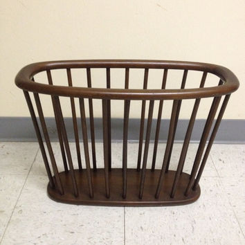 Vintage Mid Century Danis Modern Wood Spindle Magazine Rack from Authentic Furniture Products