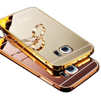 For samsung galaxy S5 I9600, 2015 New Fashion Luxury Elegant High Quality Metal Aluminum Case + Acrylic mirror Back Cover Case