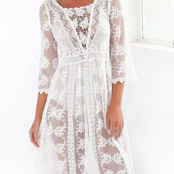 White Patchwork Hollow-out Lace Grenadine Boho Wedding Midi Dress With Cowboy Boots
