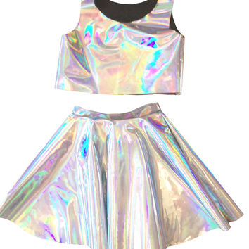 Holographic Cropped Top and Circle Skirt Set