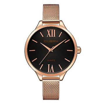 CUENA Women Classic Quartz Watch Roman Numeral Business Casual Wrist Watch Waterproof 30M with 33mm Dial Face Threehand Movement Slim Mesh Band