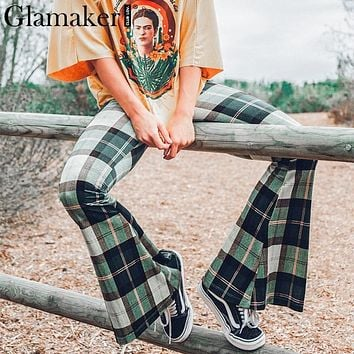 PANTS Knitted plaid flare pants capris Women bodycon casual pants bottoms Autumn elegant high waist party club trousers