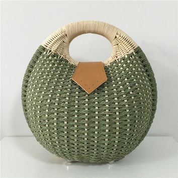 Snail's Nest Tote Handbag Women Straw Bag Lady Vintage Shell Bags Female Knitted