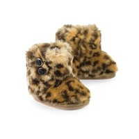 Mud Pie Baby-Girls Newborn Leopard Faux Fur Booties